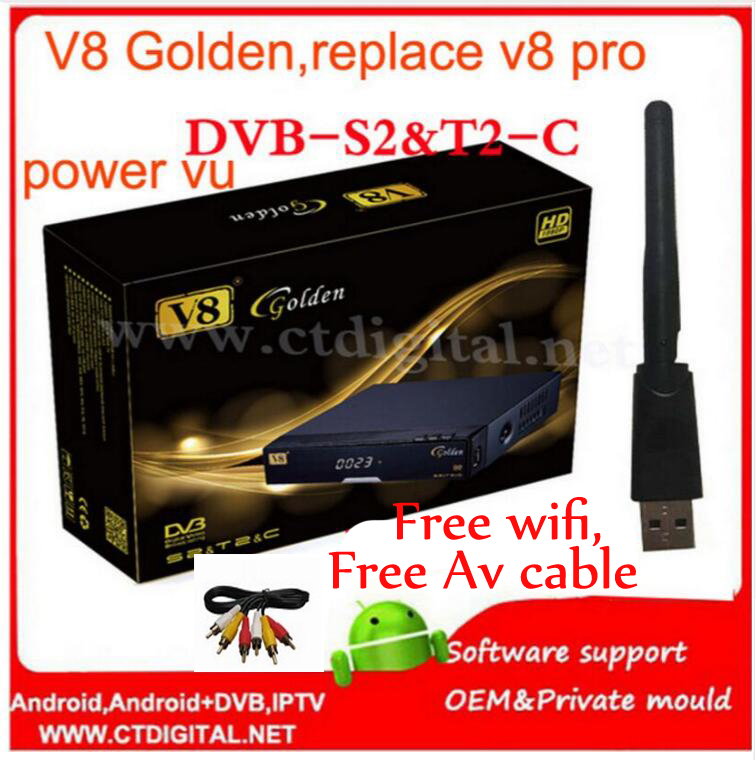 ФОТО 3pcs freesat v8 golden receptor de satelite dvb-s2+c+t2 youtube powervu iptv satellite receiver freesat v8 pro