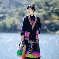 Chinese ethnic embroidery top Women jacket winter Long cotton coat