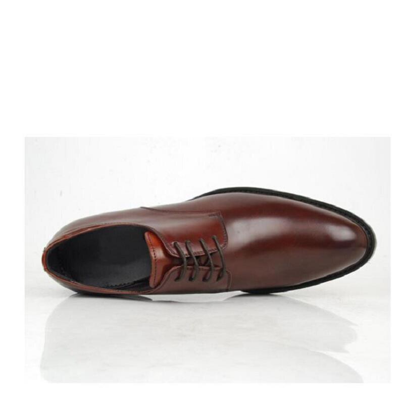 2018 заклепки Мужские модельные туфли Осень модные кожаные туфли для Для мужчин высокое качество Повседневное Мужская обувь Туфли без каблук... - 4