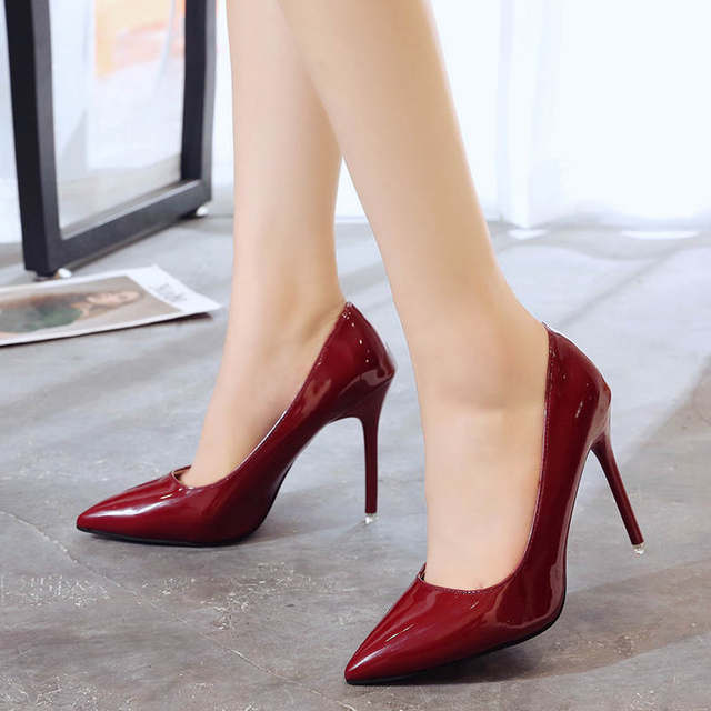 2019 HOT Women Shoes Pointed Toe Pumps Patent Leather Dress  High Heels Boat Shoes Wedding Shoes Zapatos Mujer Blue White 36