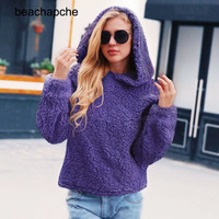 Elegant Faux Fur Hoodie Women 2018 Autumn Winter Warm Soft Hoodies Sweatshirts Pullover Female Plush Hoodies Casual Outerwear