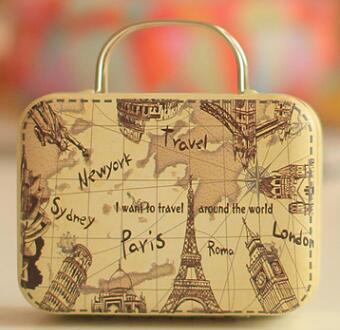 12 Style Handbag Suitcase Luggage Shaped Candy Box Wedding Favor Gift Boxes Small Vintage Rectangle Tin Storage Boxes
