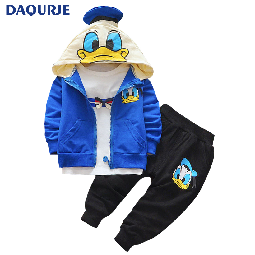 New Autumn casual baby girl / boy clothes Cute minnie cotton t-shirt + coat +pants 3 suits baby clothes girls kids clothing sets