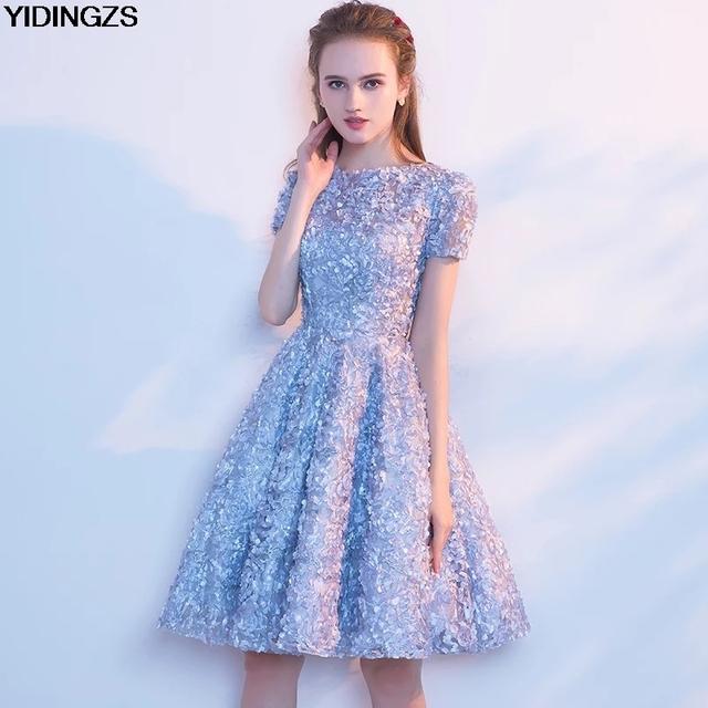 Elegant Gray Lace Prom Dress