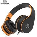 Sound intone i68 adultos dobrável música headset fones de ouvido com microfone e controle de volume para iphone android smartphones