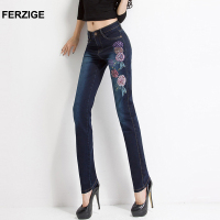 FERZIGE Women Jeans Embroidery Floral High Wast Slim Stretch Pencils Denim Pants Long Trousers Push Up
