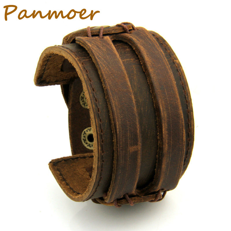 Leather Cuff Double pan Wide Bracelet Rope Bangles Brown for Men Fashion Man Bracelet Unisex Jewelry mens bracelet Gift PI0296