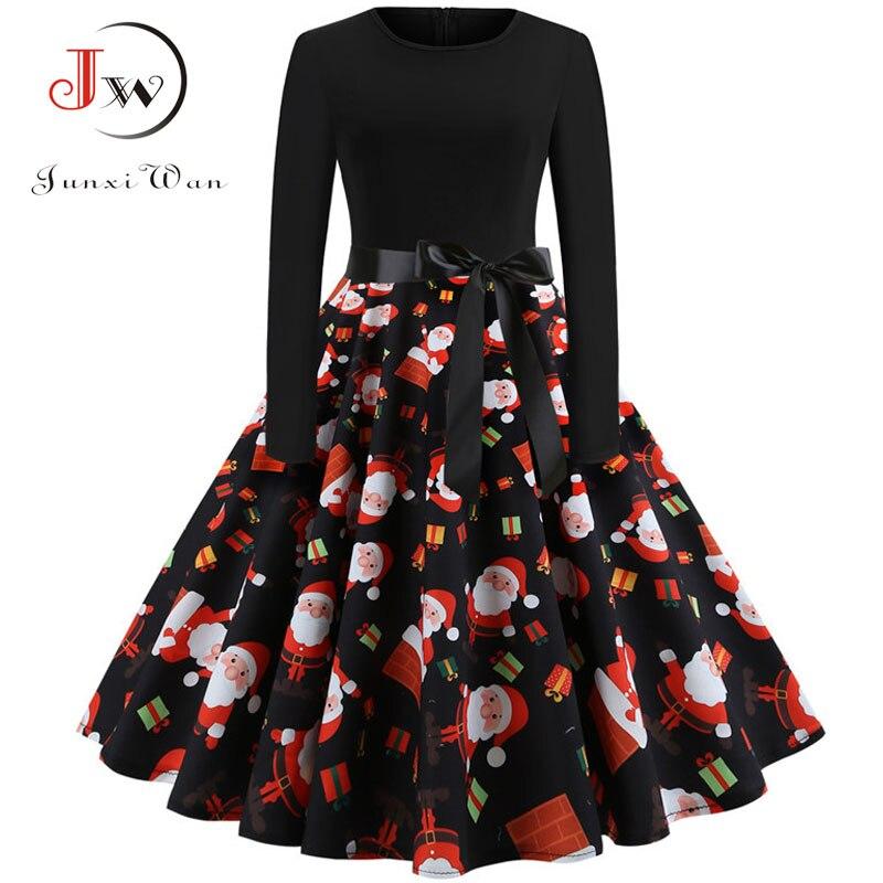Winter Women Christmas Dress Long Sleeve Print Vintage Party Dress Elegant Black Patchwork Bodycon Dresses Vestidos Plus Size 19
