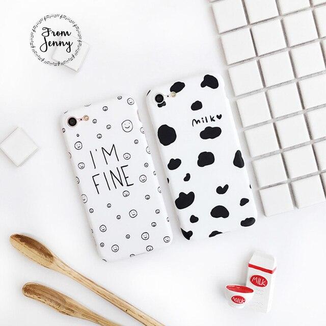 A partir de Jenny Simples Caso de Vaca Leite Manchado/Emoji estou Bem Padrão Caixa do telefone para o iphone 7 7 mais 6 6 mais 6 s 6 splus para amigo