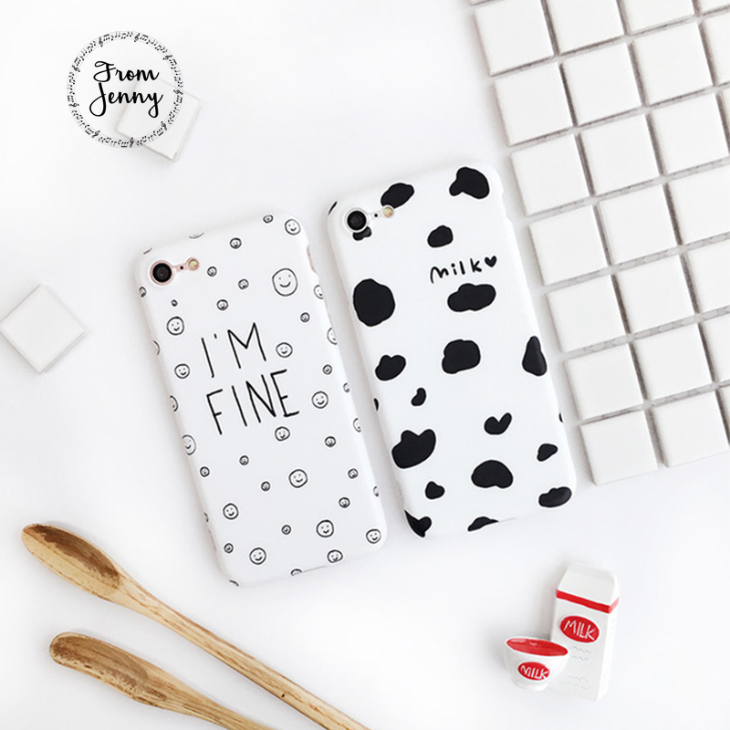 From Jenny Simple Case Cow Milk Spotted /Emoji I'm Fine Pattern Phone Case for iPhone 7 7plus 6 6plus 6s 6splus for Friend