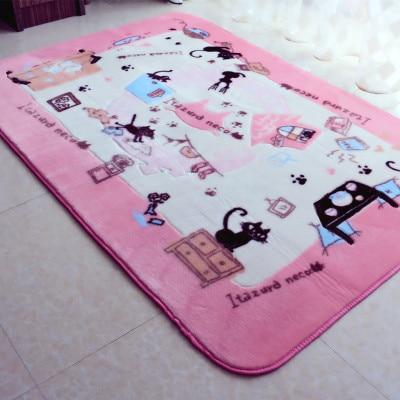 Livraison gratuite grande taille 130x185 cm Kawaii cartoon bear doux acrylique tapis et tapis pour salon rose filles tapis