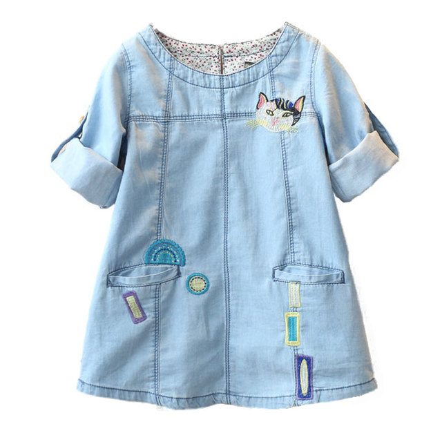 Classic children Denim clothing spring autumn girls Denim dresses cat style casual long sleeve dress for girls