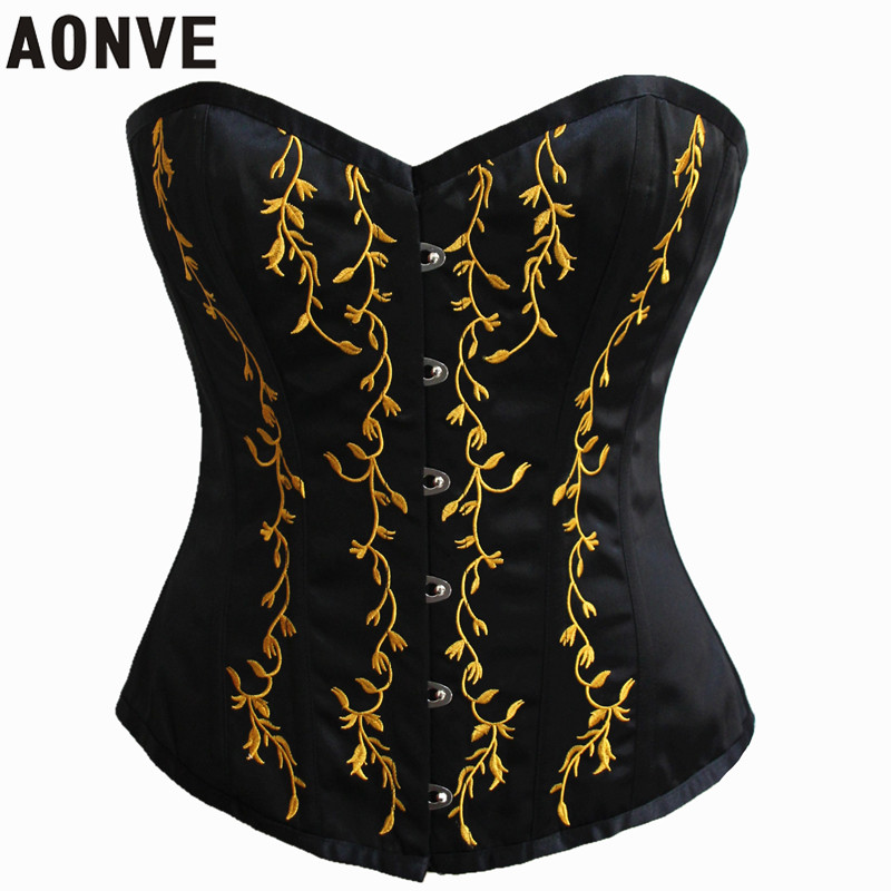 AONVE Steampunk   Corset   Gothic   Bustiers   Waist Trainer   Corsets   Modeling Strap Body Shapers Corselet Lace up Embroidery Corcepet