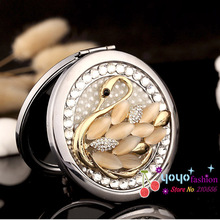 Engrave words free,wedding party bridesmaid christmas gifts,bling crystal opal swan,mini beauty makeup compact  pocket mirror