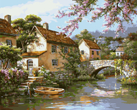 Landscape Frameless Wall Decor DIY Oil Painting By Numbers Hand Painted Oil On Canvas Painting For