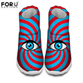 FORUDESIGNS Fashion Women's Winter Snow Boots Women Funny Big Eyes Print Waterproof Rain Boots For Ladies Warm Short Cotton Shoe