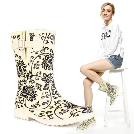 Women's summer Mid-Calf boots printing Wellington boots for woman DYYZ store rubber rain boot bluetooth keyboard for teclast p80h x80 pro p89h tablet pc x80 plus x70r wireless keyboard android windows touch pad 8 inch case