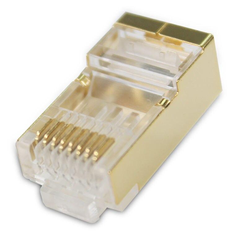 50pcs 100pcs gold rj45 connector cat6 cat6a shielded ftp rj45 plug network modular plug 8P8C for stp ethernet Cable switch modem