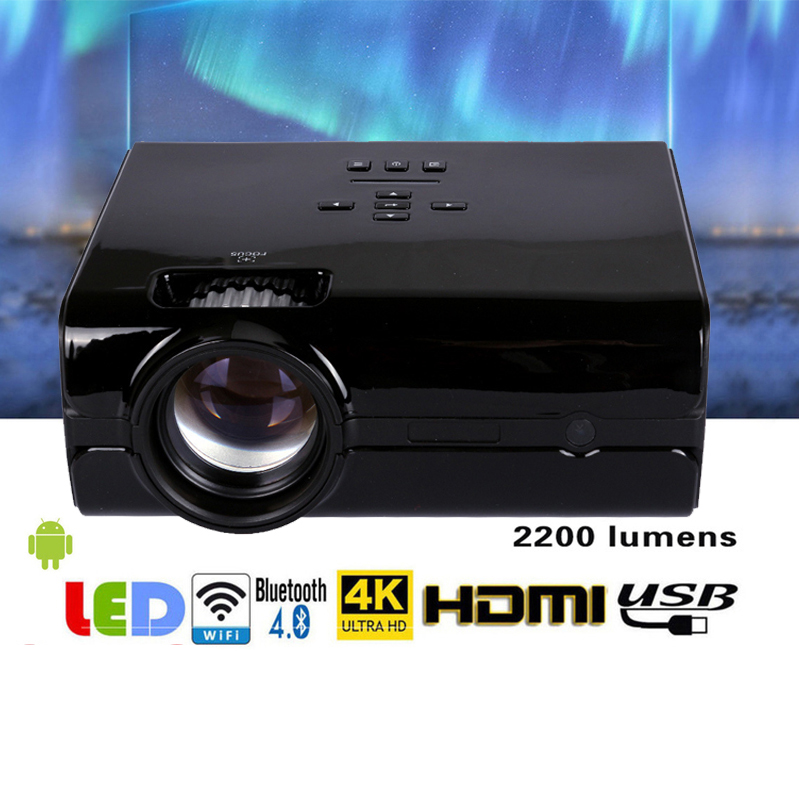 Proyector de Video 2200 lúmenes 4 pulgadas Mini LED proyector de cine en casa 20000 horas de Video LED proyector soporte 1080 p a casa teatro 5,1