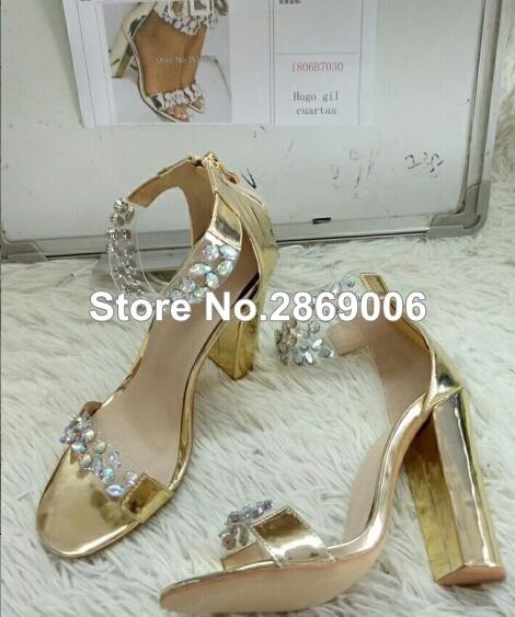 Women Ankle-Wrap High Heel Sandals Open-Toe Crystal Embellishment Chunky  Heels Summer Women Rhinestone Gladiator Sandals Shoes 6551b033af57