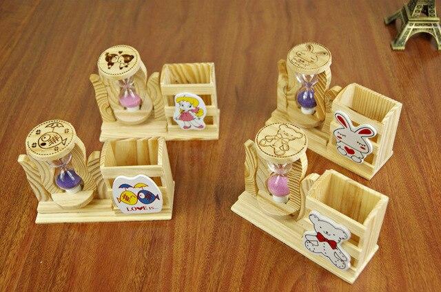 150 Wooden Cartoon Pen Holder Hourglass Children Single Stream Wood