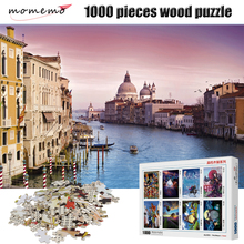 MOMEMO Riverside Town Puzzle 1000 Pieces Jigsaw Puzzles for Adults Wooden High Definition Landscape Toy Game