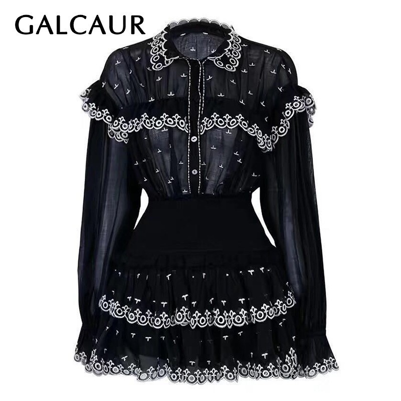 GALCAUR Embroidery Ruffles Patchwork Two Piece Set Women Lapel Flare Sleeve Button Shirt High Waist Mini