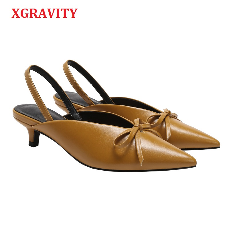 XGRAVITY Spring Summer Vintage V Design Women Pointed Toe High Heel Pumps Sexy Woman Fashion High