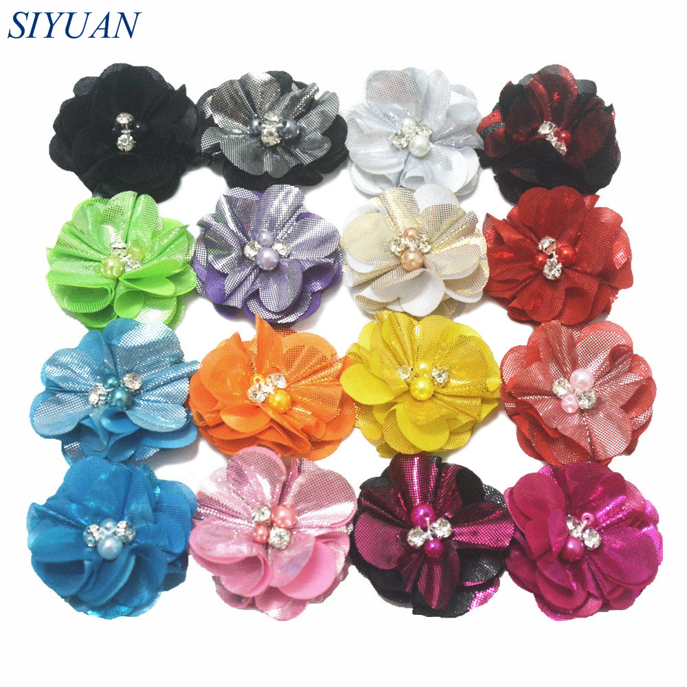 DHL Shipping 500pcs lot 2 2 Ruffled Metallic Fabric Flower with Fake Pearl Hair Accessories 16