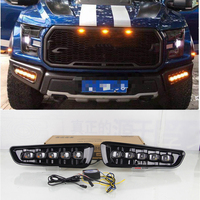 SHCHCG For Ford F150 2016 2017 2018 White Yellow Color Daytime Running Lights Led Front Fog Lamps Lights Decorative Car Styling