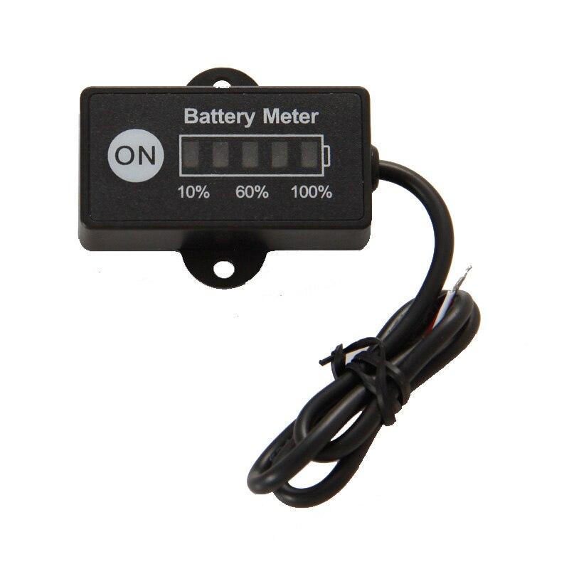 LED 5 BAR affichage mini jauge de batterie indicateur de batterie 12/24 V pour moto voiturettes de golf tension d'essai de batterie