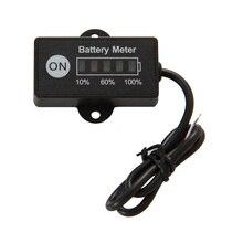 Pantalla LED 5 BAR mini battery meter indicador de batería 12/24 V para la motocicleta tensión de prueba de carros de golf de batería
