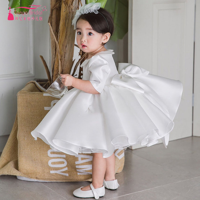 White Satin Flower Girls Dress For Wedding Party Kids First