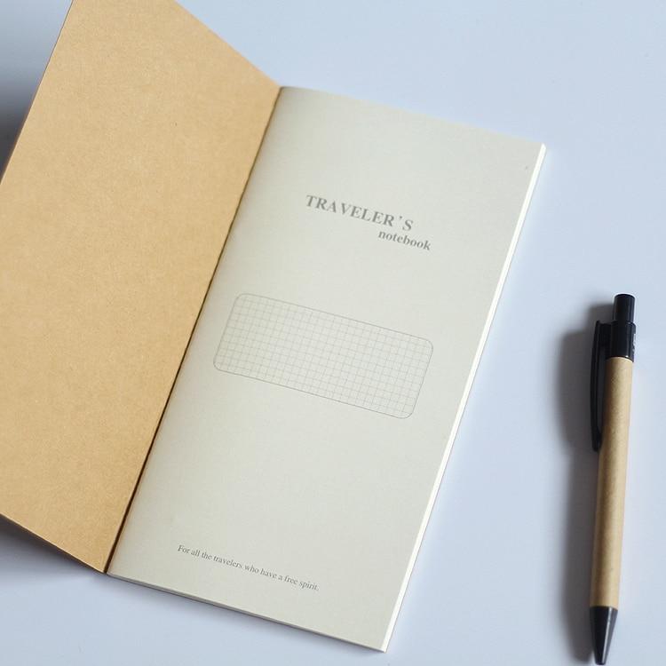 Купить с кэшбэком Standard/Pocket Kraft Paper Notebook Blank Dot Grid Notepad Diary Journal Traveler's Refill Planner Organizer Filler Paper