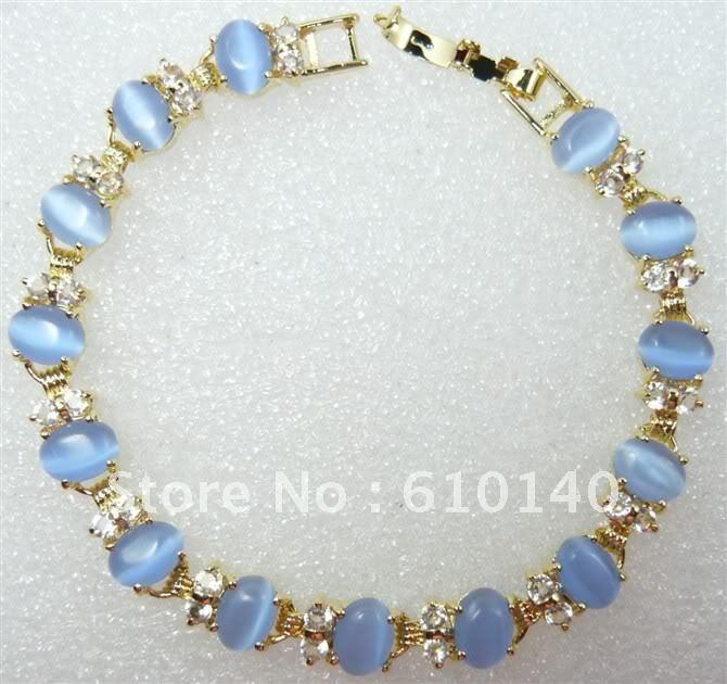 6PCS Jewellery pretty natural blue opal bracelet 7.5