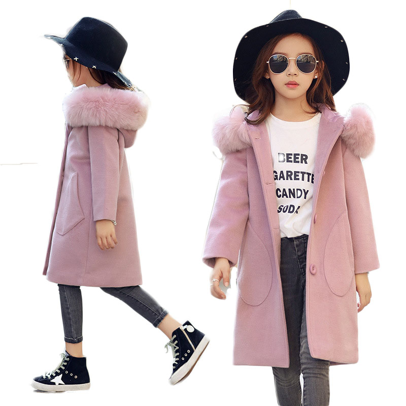 2018 New Winter Children's Clothing Coat Girls Woolen Outerwear Kids Long Overcoats Teenage Hooded Faux Big Fur Collar Wear P168