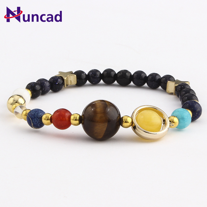 2017 Hot Universe Galaxy the Eight Planets Solar System Guardian Star Natural Stone Beads Bracelet Bangle for Women Men Gift