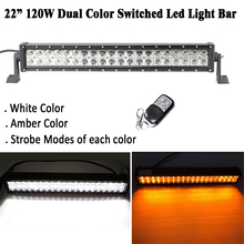 22 inch 120W Dual Color Led Work Light Bar Strobe White/Amber;Green;Blue;Red Warning Combo Beam for offroad ATV SUV 4X4 4WD