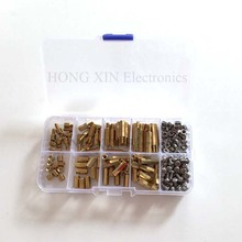 100pcs m3 brass hex standoff m3 x 20 m3 20 female to female brass spacer standoff 200pcs/set brass standoff spacer M3 stainless steel screw nut brass Male-Female Standoff F-F spacer kit M3*5/10/15/20