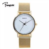 Pangchi Brand Men Stainless Steel Mesh Belt Watches Simple Woman Ladies Gold Casual Quartz Wrist Watch Clock Relogio Feminino