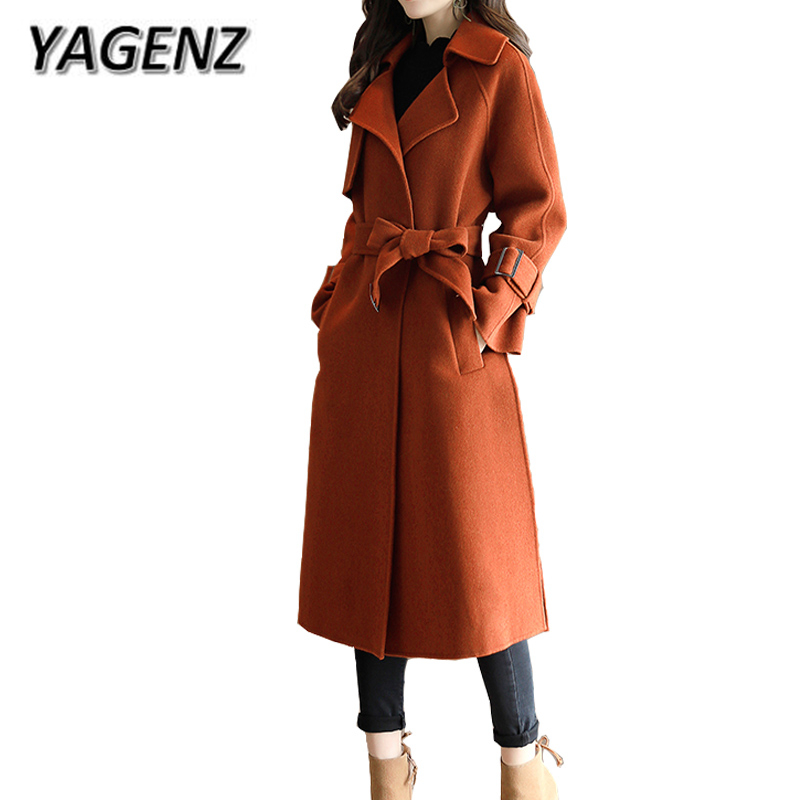 YAGENZ High quality Women Woolen Jacket Coats Winter Temperament Slim Solid Long Coat Casual Winter Wool Female Windbreaker Coat