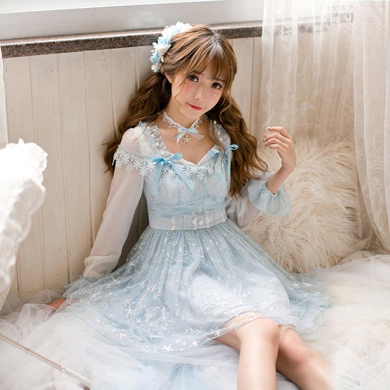 Princess sweet lolita dress Candy rain dress autumn long sleeves slim sweet lace flare sleeve princess