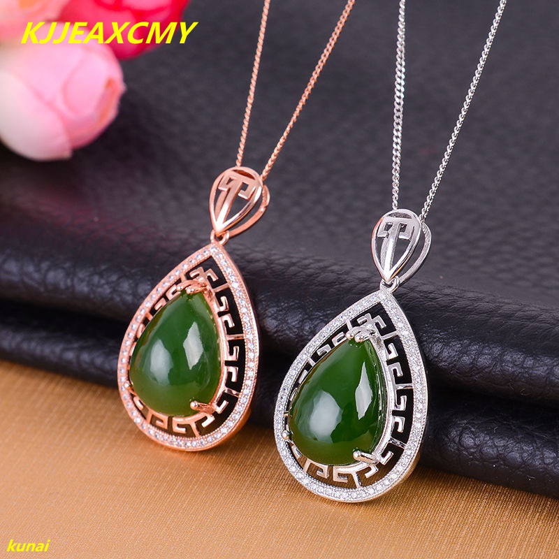 KJJEAXCMY boutique jewels 925 silver Natural green jade pendant necklace send female tassel bnm njusd ...