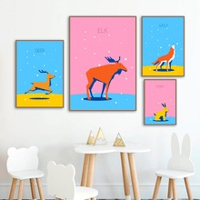 Cartoon Wild Animals Deer Elk Rabbit Wolf Wall Art Canvas Painting Nordic Posters and Prints Pictures Baby Kids Room Decor