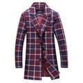 O novo estilo de inverno de 2016 dos homens grade moda casual trench coat casaco do homem jaqueta Livre grátis