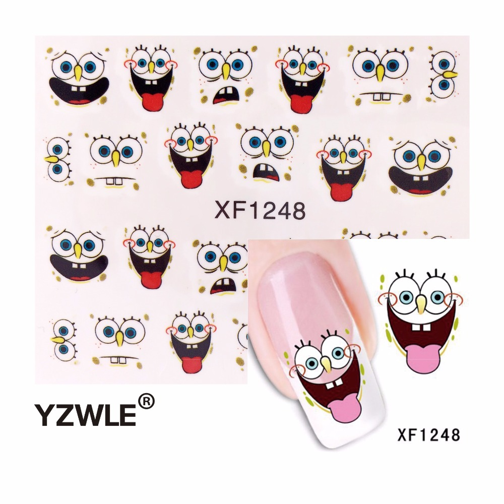 YZWLE 3D Design Cute DIY Cartoon Nail Tips Water Transfer Nail Stickers, Watermark Nail Decals Manicure Tools стоимость