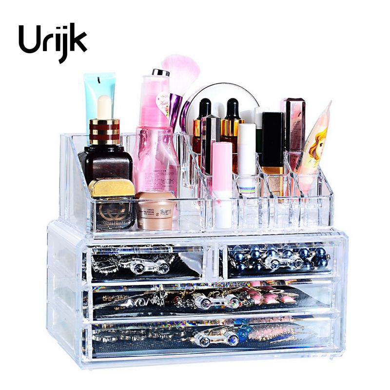 Urijk Makeup Organizer Storage Box Bins Acrylic Cosmetic Container Bedroom Jewelry Display Holder For Women Girls Make up Case