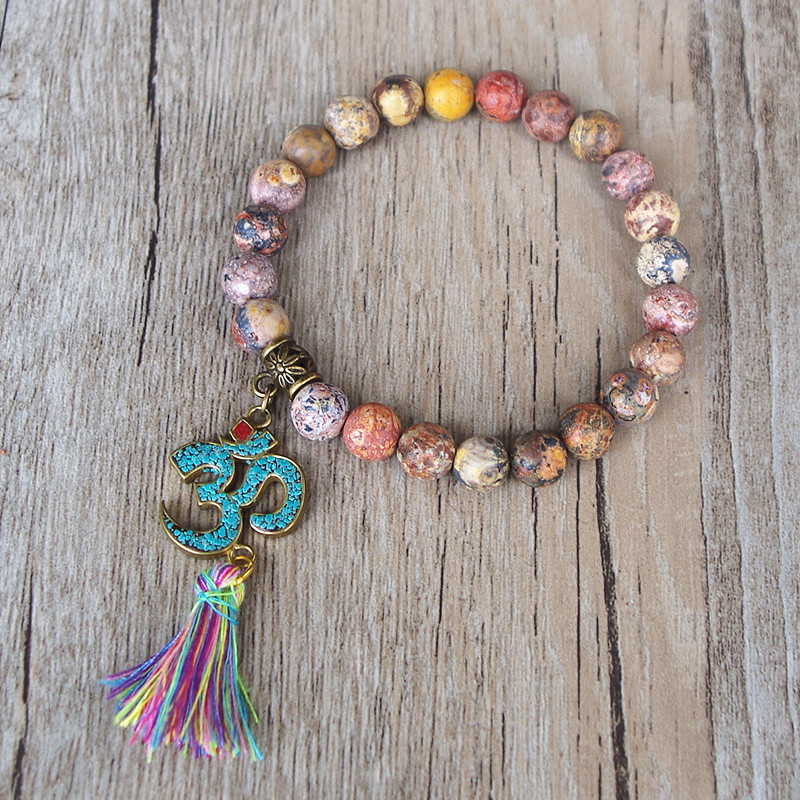 Handmade Tibetan Buddhism Natural Stone Chakra Mala Bracelet Tassel Om Beaded Strand Bracelet for Women Men