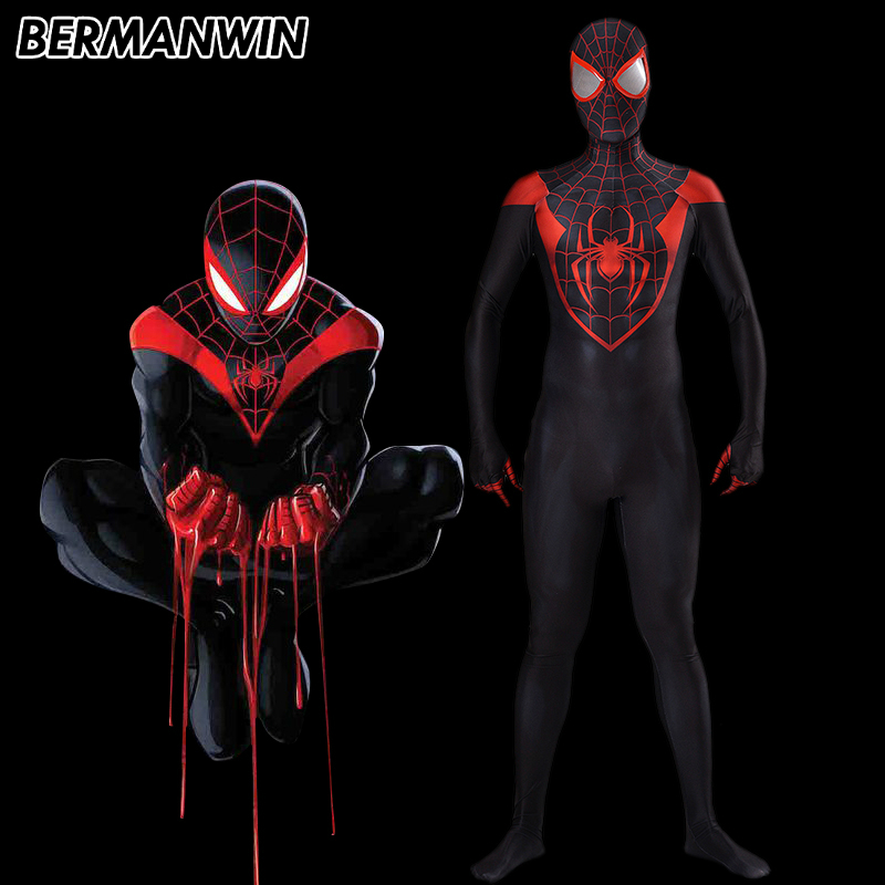 BERMANWIN High Quality Ultimate Miles Morales Spider-Man Costume Ultimate Spiderman costume suit Spandex Ultimate Miles Morale