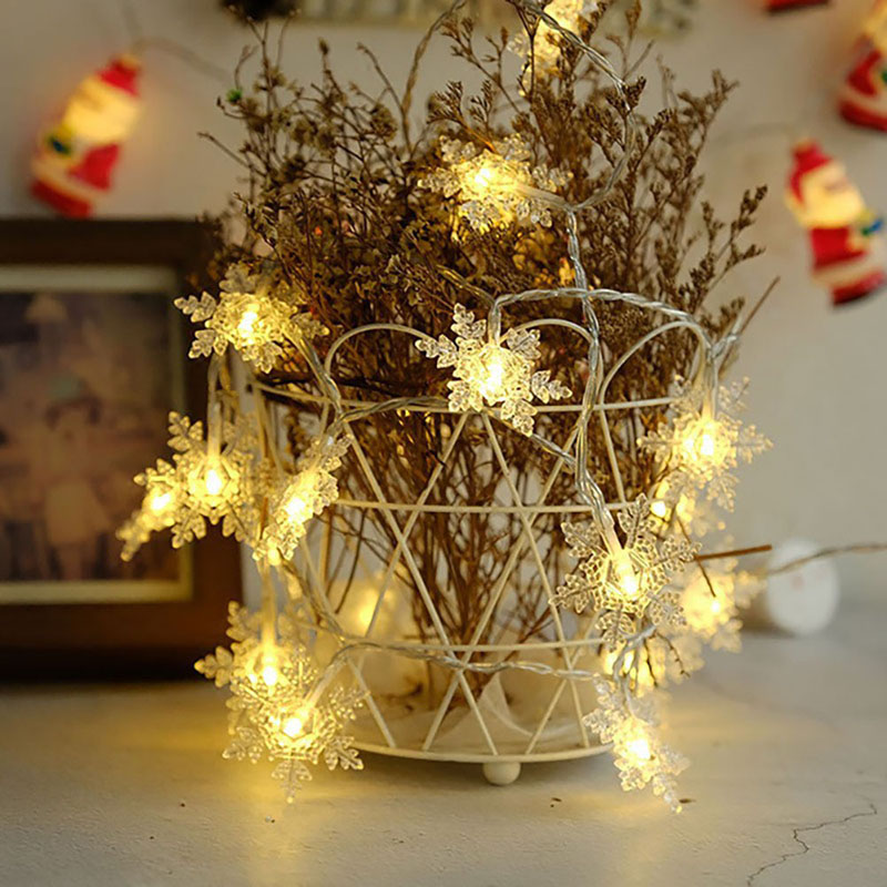 5M 40 LED Snowflake String Fairy Lights New Year Xmas Party Wedding Garden Light Lamp Garland Decoration Christmas Lights